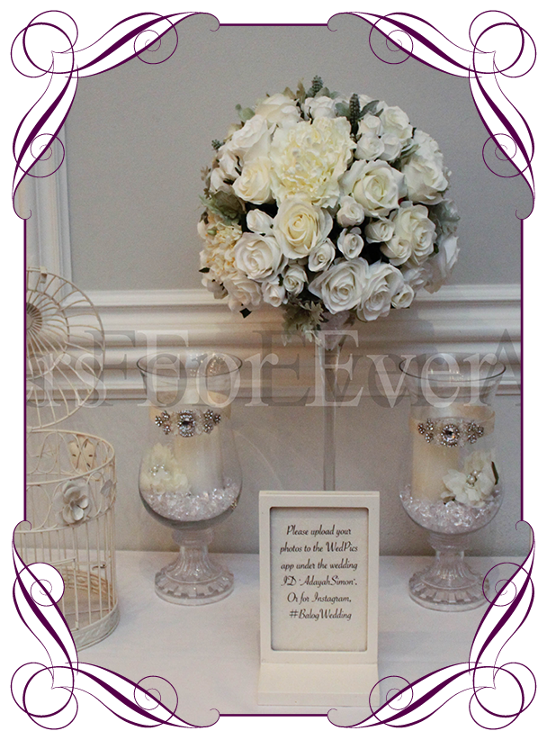 HIRE – White / Ivory Floral Martini Table Arrangement – Flowers For ...