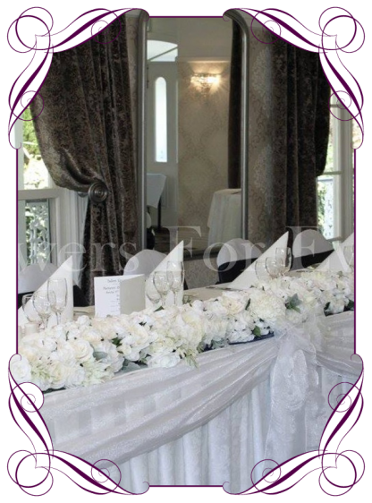 White table garland / bridal table decoration for hire to Melbourne and surrounds