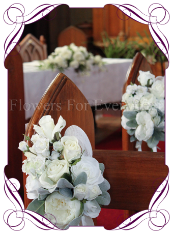 White floral wedding pew decoration for hire to Melbourne and surrounds