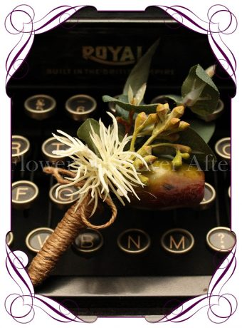 Silk Australian native button with artificial eucalyptus leaf gumnut and twine