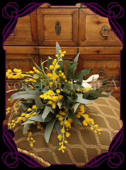 silk wattle and australian natives bridal bouquet, bush wedding and rustic wedding flowers