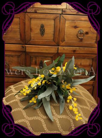 silk wattle and australian native flower bridesmaid posy bouquet, australian native bridal bouquet rustic weddings bush wedding