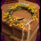silk australian native wattle and berry flower crown, bush wedding flowers rustic wedding flowers