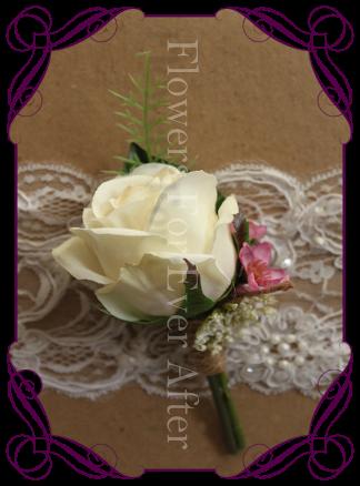ivory silk rose groom groomsmen boutonierre button rustic wedding bridal flowers