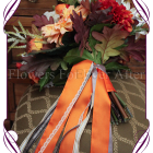 Autumn Fall silk wedding bouquet. A collection of beautiful artificial bridal flowers in rich fall tones including burnt orange and brown. Unique in design and very affordable for its full size, this bouquet is perfect for both indoor and outdoor weddings worldwide.