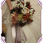 Autumn Fall silk small wedding bouquet. A collection of beautiful artificial bridal flowers in soft fall tones including champagne, burnt orange and brown. Unique in design and very affordable for its size, this bouquet is perfect for both indoor and outdoor weddings worldwide.