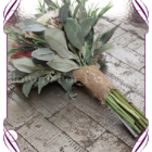 Dusty pink artificial protea and ivory rose posy . A perfect artificial rustic wedding bouquet