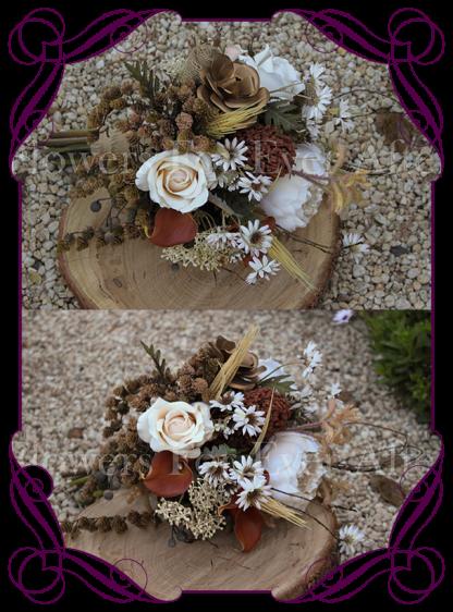 Fall Autumn inspired wedding bouquet featuring pine cones, vine, burnt orange calla lillies, roses, peony, hessian, rustic vintage wedding bouquet