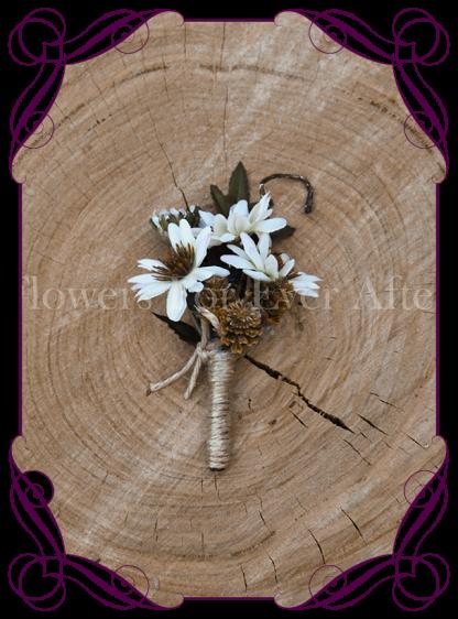 silk daisy boutonniere rustic wedding