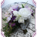mauve purple lily bouquet rustic wedding featuring mauve lilly lilly of the valley, cornflower, purple roses a beautiful semi structured bridal bouquet,