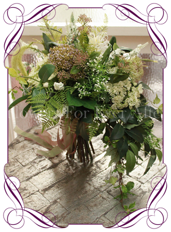 Rustic/ / boho / whimsical wedding bouquet. This artificial bridal bouquet features a large range of fine textures and foliage for a very unique and fresh look in silk bouquets.