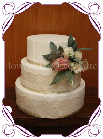 Dusty pink artificial protea and Australian native accent cake flowers. Ideal for rustic wedding cake decorations