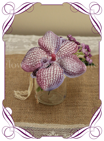 Purple orchid and baby's breath silk flower artificial wedding table decoration. Perfect for jars and small vases in a rustic theme.