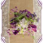 Purple silk flower artificial wedding table decoration. Perfect for jars and small vases in a rustic theme.