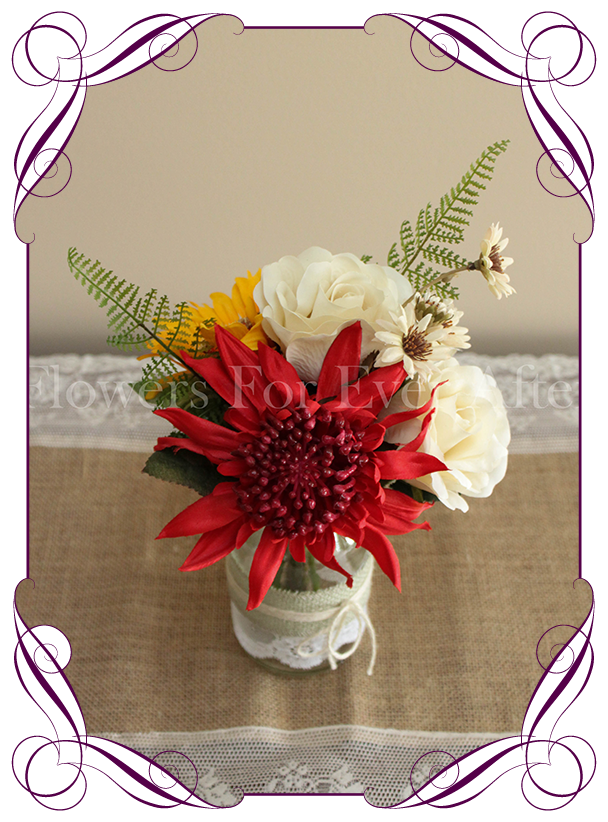 Sommer Red Yellow Table Posy Flowers Sunflowers Australian Native Silk