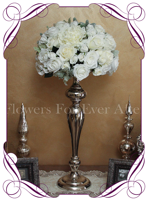 Hire white dome on silver stand flowers for ever after white ivory flower dome table centerpiece for hire in melbourne and surrounds silk flower junglespirit Choice Image