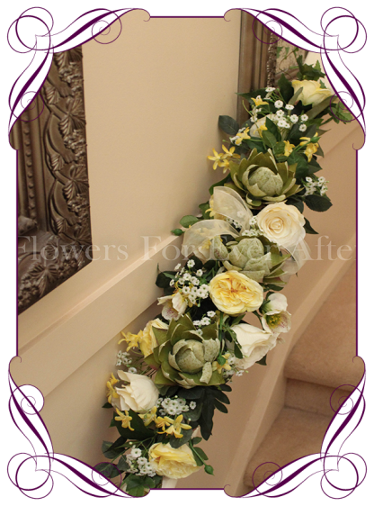 Yellow and green 1 meter bridal table decoration, silk artificial flower table runner, arbor decoration, arch decoration