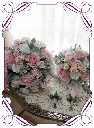 Pink and white rose bouquet in an elegant wedding style with a unique twist. Silk artificial bridal bouquet package.