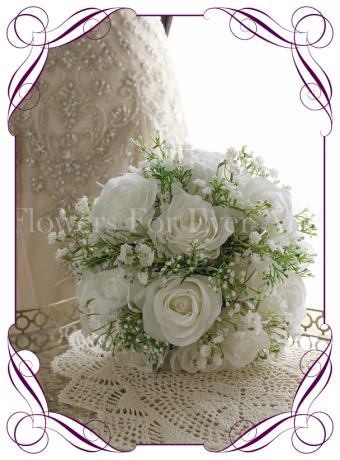 White rose and baby's breath gypsophelia silk artificial wedding bouquet. Unique & Made in Melbourne!