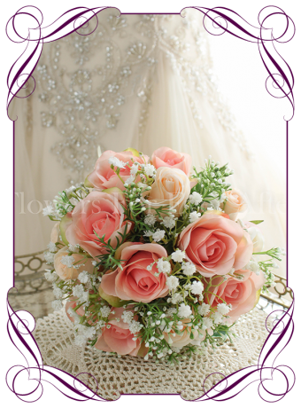 Coral and apricot rose and baby's breath silk artificial wedding bouquet. Bridesmaids bouquet
