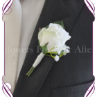Silk artificial gents wedding flower button with a white rose and baby's breath.