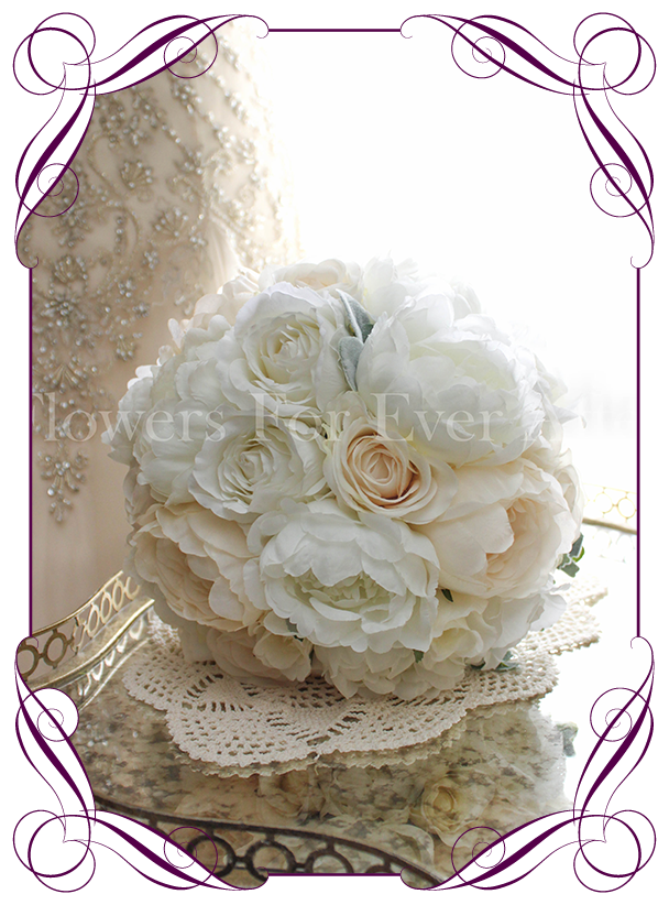 Diana flowers for ever after artificial wedding flower designs white ivorycream silkartificial wedding bouquet a combination of realistic silk roses mightylinksfo Gallery