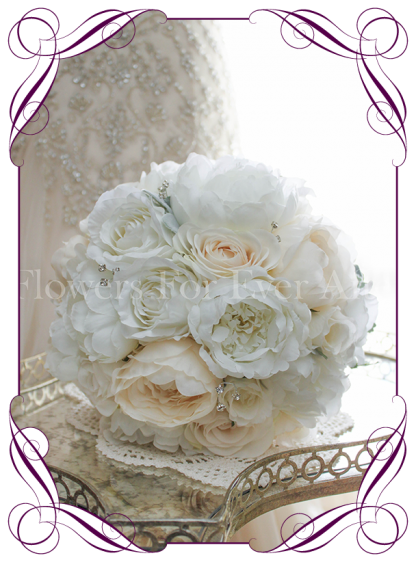 White & Ivory/Cream silk/artificial wedding bouquet a combination of realistic silk roses and peonies. Made in Melbourne.