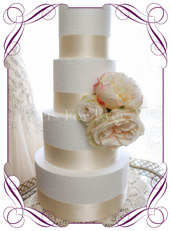 Ivory and blush peonies and roses, silk artificial wedding cake flowers decoration. Easy style. Made in Melbourne Australia. Shipping world wide.
