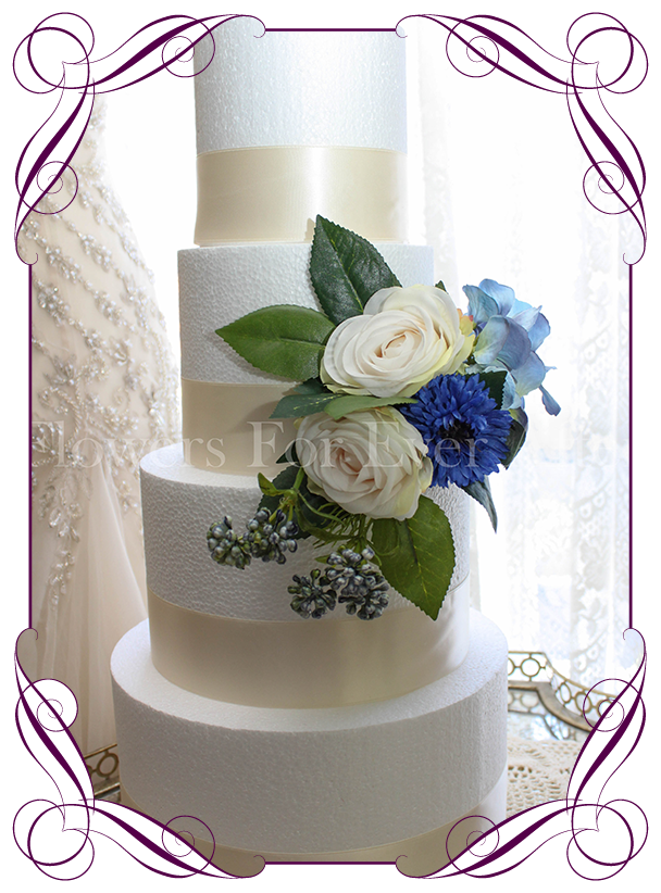 Marnie cake decoration flowers for ever after artificial wedding rustic wedding cake decoration in silk artificial flowers with blue cornflower hydrangea and ivory junglespirit Image collections