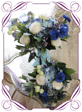 Blue and ivory rustic silk artificial wedding bridal bouquet package. A set of wild flowers and classic elegant blooms in a rustic style. Made in Melbourne Australia. World wide shipping