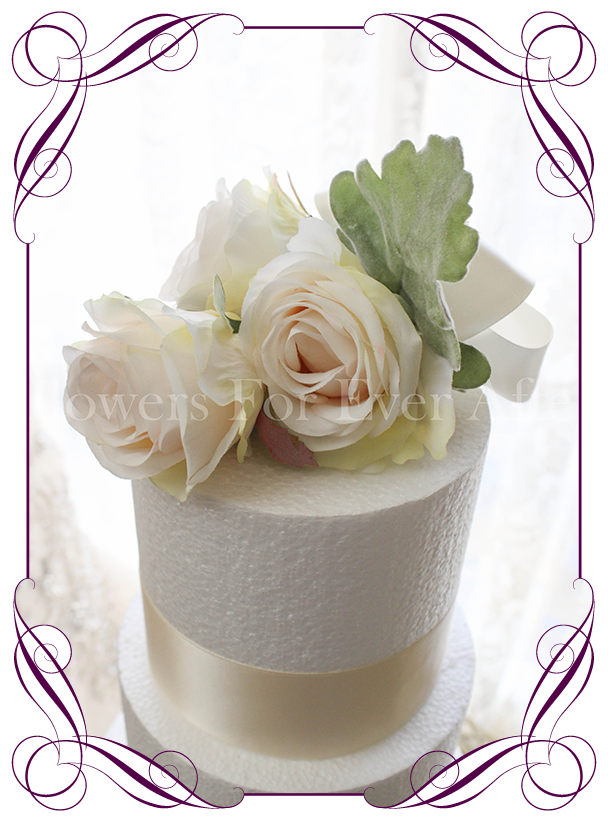Vera cake decoration flowers for ever after artificial wedding ivory and blush silk artificial wedding cake flowers decoration easy style made in melbourne junglespirit Gallery