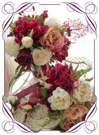 An elegant unusual silk artificial bridal bouquet design with peonies and roses in raspberry, ivory and champagne apricot. Made in Melbourne. Worldwide shipping.