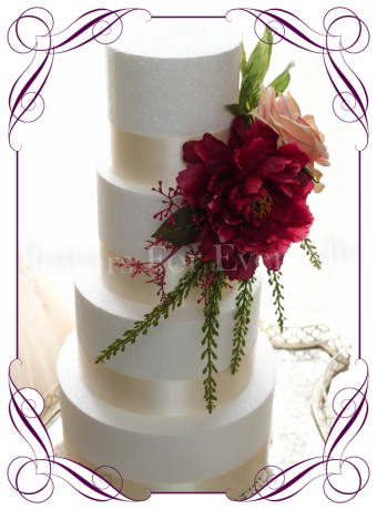 Silk flower wedding cake toppers, engagement cake topper, flower birthday cake topper, artificial flower cake decoration, Made in Melbourne