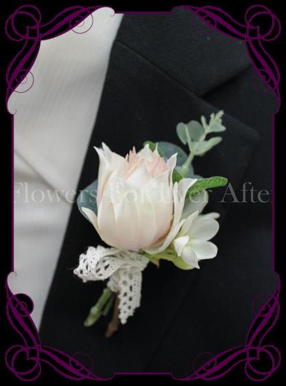 Gents / groomsmen wedding button mens flower boutonniere. Protea button