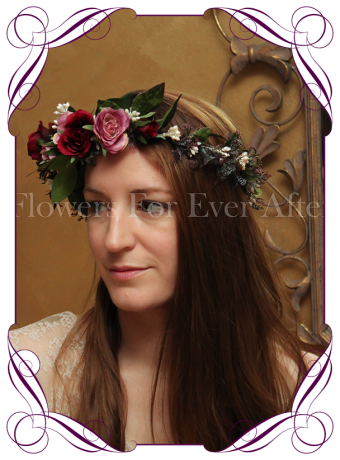 Burgundy, pink and plum silk artificial flower crown / halo.