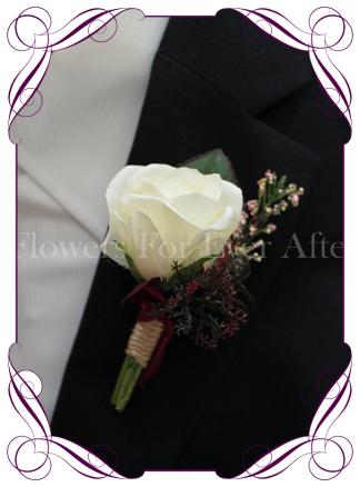 rustic silk wedding flower gent / groomsmens button boutonniere. Rose and foliage
