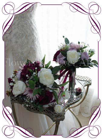 Silk Bridal bouquet wedding package featuring artificial peonies, artificial roses in burgundy, pink and lilac purple, rustic boho whimsical bridal silk wedding flowers. Artificial posy of roses, peonues, baby's breath and unique chrysanthemum. Bridal wedding flower package / set