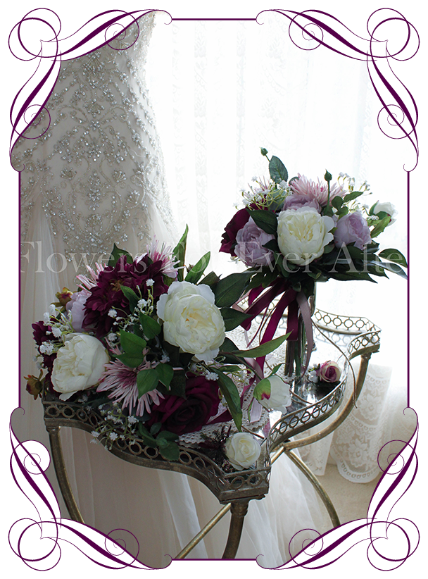 Silk Bridal Bouquet Wedding Package Featuring Artificial Peonies Roses In Burgundy Pink And