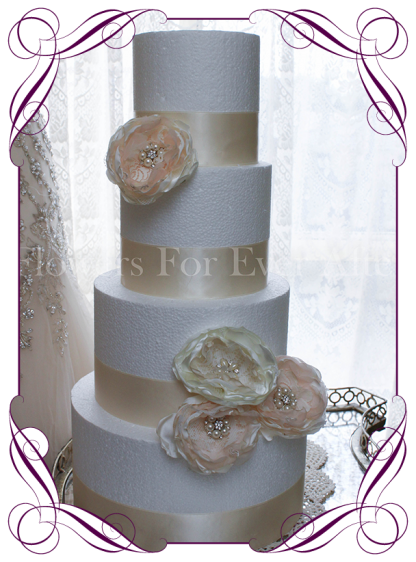 Hand made blush and ivory fabric flower and bling vintage cake flowers decoration
