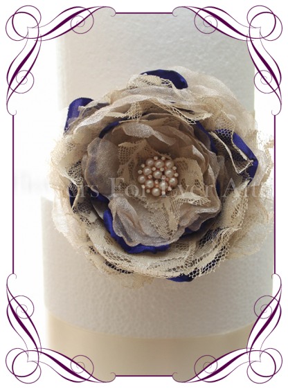 Champagne gold and blue handmade fabric flower and bling cake decoration / topper