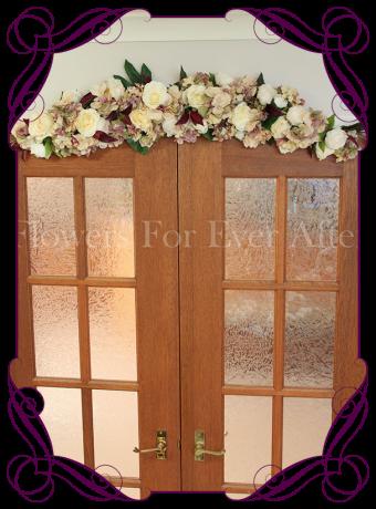 vintage pastel rose and hydrangea silk artificial flower wedding arbor / arbour