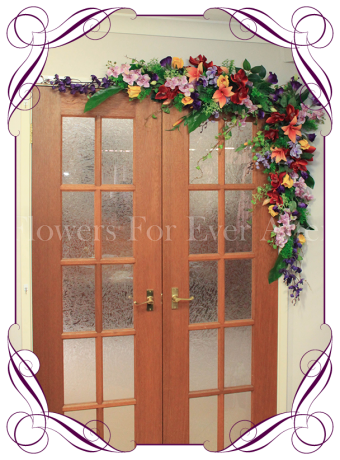 Vibrant colourful / colorful silk artificial wedding arbor / arch / bridal table decoration with orchids, lilies, roses and vines. Made in Melbourne, shipping worldwide
