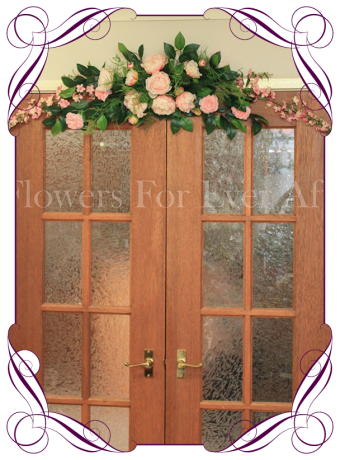 Pink silk artificial wedding arbor / arch / bridal table decoration with peonies and camelia. Made in Melbourne, shipping worldwide
