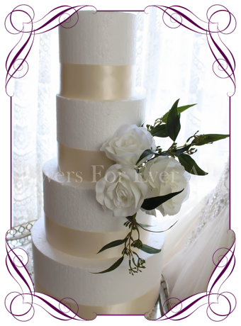 Silk artificial wedding cake decoration with silk white roses, Australian silk seeded gum leaves. Made in Melbourne, ship worldwide.