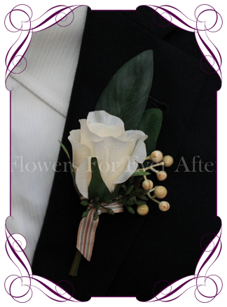 rustic ivory cream silk wedding flower gent / groomsmens button boutonniere. Rose and native gum foliage
