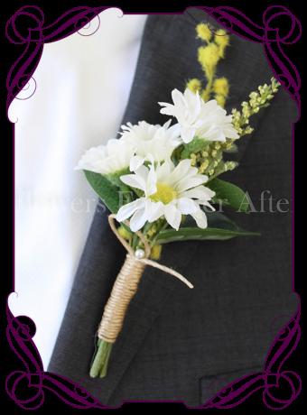 Daisy-silk-artificial-rustic boho Groom-mens-gents-button-daisies wattle twine Australian-native-foliage-rustic