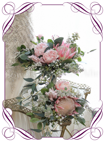 Elegant rustic wedding bridal bouquet package / set with artificial silk pink protea, peony and Australian native foliage and baby's breath. Made in Melbourne. Shipping worldwide.