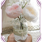 Blush-pink-peony-rustic-style-silk-artificial-table-centrepiece-posy-for-wedding-table-party-decoration-jar, with peonies, roses and baby's breath, babies breath. Buy online