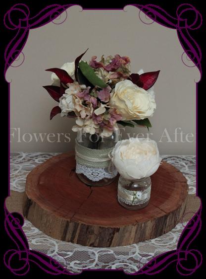 vintage pastel rose and hydrangea silk artificial flower wedding table centrepiece decoration, mason jar rustic flowers