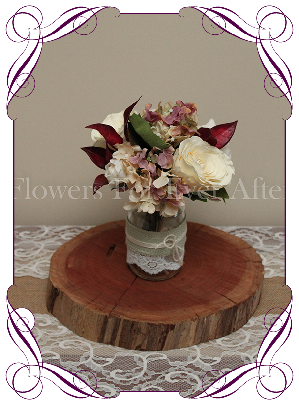 Vintage pastel burgundy table posy flowers for ever